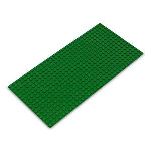 Platte 25,5cm x 12,25cm / 16x32 Pins, Große Grund- Bauplatte für Lego, Q-Bricks, MY, Sluban kompatibel, Grund-Platte, Grün für Wiese, Gras