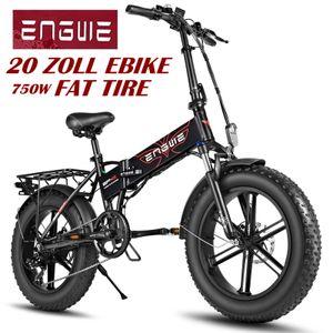 ENGWE EP-2 Pro 20 Zoll Fat Tire 48V 12.8AH Elektro Faltrad Mountain Beach Bike 750-W für Erwachsene Citybike Mountainbike E-Bike-Schwarz