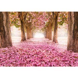 Fototapete Wald Tapete Herbstblätter Wald Bäume Baum Forest Herbst rosa   no. 151, Größe:400x280 cm, Material:Fototapete Vlies - PREMIUM PLUS