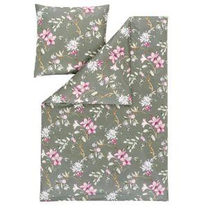 Estella Mako Jersey Bettwäsche 135x200 Liliana Lilien Blüten pink oliv 6380-540