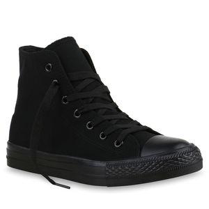 Mytrendshoe Damen High Top Sneakers Trendfarben Sportschuhe Stoffschuhe 815481, Farbe: Schwarz, Größe: 37