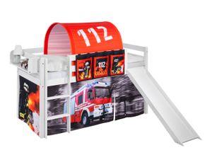 Spielbett JELLE 90 x 200 cm Feuerwehr - Hochbett LILOKIDS - Weiß - mit Rutsche und Vorhang
