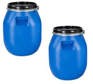 2 Stück 30 Liter Deckelfass, Kunststofffass, Futtertonne, Fass, Weithalsfass Farbe blau mit Griffmulde (2 x 30 DGM)
