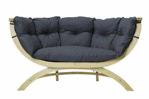 Gartenbank / Gartensofa 2-Sitzer Amazonas Siena Due Kissen anthracite