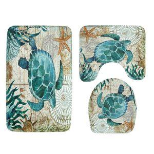 3 Stück Badematten Set, Memory-Schaum Bad-Teppiche Weiches Wasser Saugfähig WC Badezimmer Teppich Rutschfest Bad Teppich Set - Meeresschildkröte