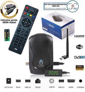 Anadol HD 777 1080p HDTV digitaler Mini Sat Receiver + WLAN - energiesparender Full HD Minireceiver mit PVR Aufnahmefunktion Timeshift - Minisatreceiver mit vorinst. Astra Sendern - 12V Camping