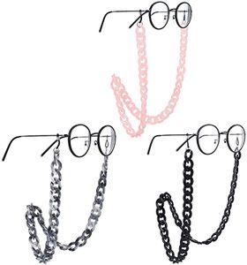 3 Stück Brillenketten Acryl Brillenkette Brillenkettenhalter mi t Verstellbar Gummischlaufe auf Silikon, Anti-Rutsch Sonnenbrillen Brillen Kette für Damen