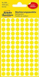 AVERY Zweckform Markierungspunkte ablösbar 8 mm gelb 416 Stück