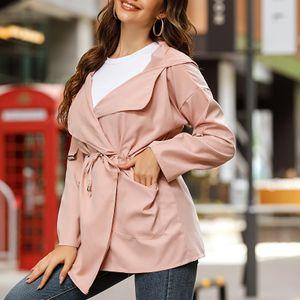 Frauen Mittellanger Kapuzenmantel Langarm Einfarbige Seitentaschen Laessiger Fruehling Herbst Duenner Mantel[Rose-L]