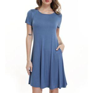 Kleid Rundhalsausschnitt Weich Einfarbig Frauen Lose Kurzarm Kleid Für Dating