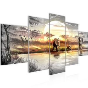 Afrika Elefant BILD :200x100 cm − FOTOGRAFIE AUF VLIES LEINWANDBILD XXL DEKORATION WANDBILDER MODERN KUNSTDRUCK MEHRTEILIG 000751a