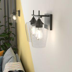 COSTWAY Wandlampe Glas, Wandleuchte 2 flammig, Retro Badleuchte Industrial Vintage Leuchte Metallbasis für Schlafzimmer Badezimmer Wohnzimmer Loft