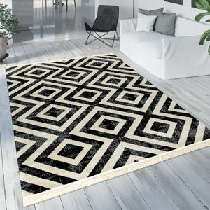 Teppich Schwarz Weiß Balkon Terrasse Outdoor Skandi-Design Rauten-Muster Robust, Grösse:80x150 cm