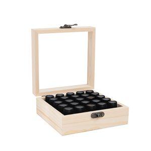 25 Slots Box aus aetherischen oelen aus Holz Organizer fuer 1-3 ml Flaschen aetherisches oel Tragetasche Aufbewahrungsbox aus Holz