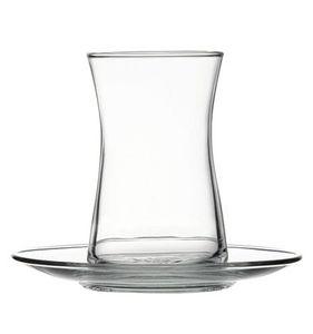 Pasabahce 95290 Heybeli Teeset 165ml, 4 Teegläser und Untertassen, 308ml, Glas, transparent, 4 Set