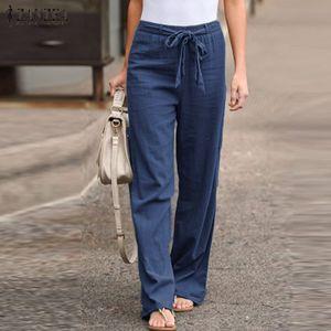 ZANZEA Damenmode Elastic Lange Hose Freizeithose Belt Lace-up Lose Pants Hosen, Farbe: Blau, Größe: 5XL