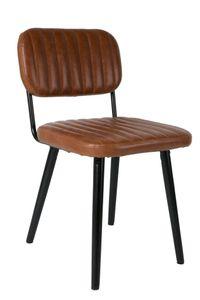 stuhl Jake Worn 58 x 81 cm Stahl/Leder braun
