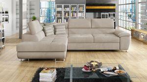 Mirjan24 Ecksofa Cotere, Eckcouch mit Schlaffunktion und Bettkasten, L-Form Sofa vom Hersteller (Uttario Velvet 2979 + Senegal 825, Seite: Links)