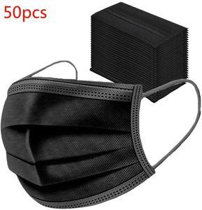 50x SUPERSTAR001 Mundschutz Maske 3-lagig Hygienemaske Atemschutz Einweg Schutzmaske Gummiband Schwarz