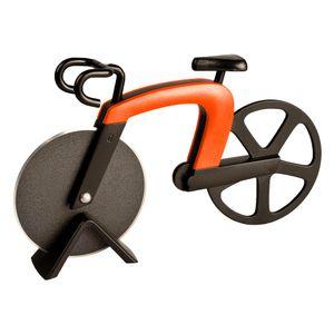 ECENCE Pizzaschneider Fahrrad Pizza Cutter rostfreier Stahl  mit Antihaft-Beschichtung mit Ständer