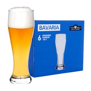 6er Set Bavaria Weizenbiergläser 0,5 Liter geeicht Weißbiergläser Biergläser Weizengläser Glas