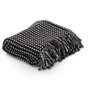 [CHARME] Überwurf elegantes Design|Sofaüberwurf Bettüberwurf Baumwolle Kariert 160 x 210 cm Schwarz Stilvoll Direkt vom Herstelle Decken