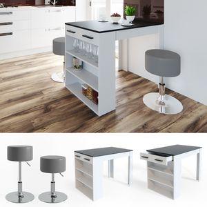 Vicco Bartisch Esstisch Tisch Bistrotisch Essplatz Schublade Regal Bar mit Barhocker