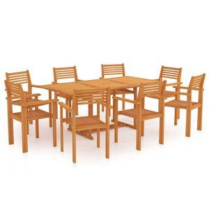 Gartenmöbel Essgruppe 8 Personen ,9-TLG. Terrassenmöbel Balkonset Sitzgruppe: Tisch mit 8 Stühle Massivholz Teak❀9882