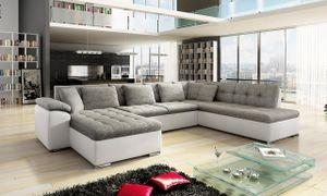 Mirjan24 Ecksofa Niko Bis, Bettkasten und Schlaffunktion, Sofa vom Hersteller, Wohnlandschaft, Polstergarnitur (Soft 017 + Lawa 05, Seite: Links)