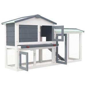 Hommie® Großer Kaninchenstall Hasenkäfig | Modern Design | Transportbox für In- und Outdoor Grau und Weiß 145 x 45 x 85 cm Holz ❤6363