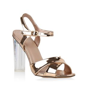 Mytrendshoe Damen Party Sandaletten Metallic High Heels Stilettos 817044, Farbe: Rose Gold, Größe: 36