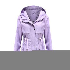 Damen-Taillen-Outdoor-Regenjacke mit Kapuze mit Reißverschluss-Hoodie,Farbe: Lila,Größe:S