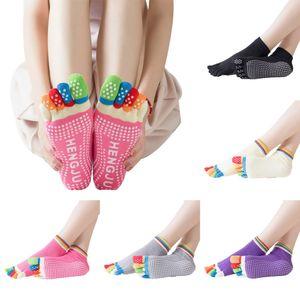 Frauen Fünf Zehen Baumwolle Silikon Winter Ballett Yoga Socken-(Rosenrot)