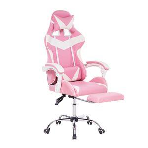 Meco Bürostuhl Drehstuhl Schreibtischstuhl Gaming-Stuhl 150 Grad liegend mit Fußstütze Bürosessel Ergonomisch gestaltet -Rosa