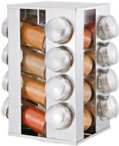 Edelstahl  Gewürzregal Gewürzständer Gewürzspender Gewürzkarussell Küchenregal   gewürzgläser  360° drehbar  16 Gewürzdosen aus Glas