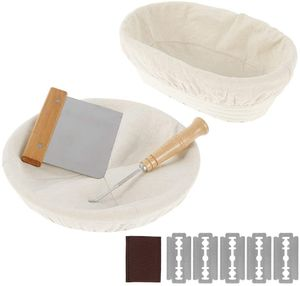 Gärkörbchen Rund & Oval Set Gärkorb Rattan Bambuskorb Brotbackformen für Brot und Brotteig Brotkorb