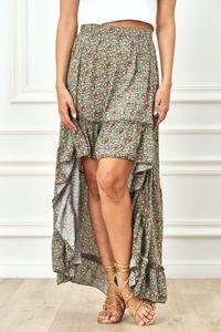 Sommer High Low Rock im High Waist-Style mit Flower-Print, Farbe: Khaki, Größe: One Size (Einheitsgröße)