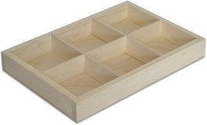 Creative Deco Setzkasten Sammelbox Holz   6 Fächer   27,5 x 18 x 4 cm (+/- 0,5 cm)   Holztablett Bemalen Holz Sortierung Speicherregal Box Drucker   Perfekt für Decoupage, Lagerung, Dekoration