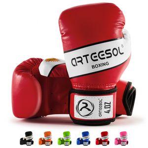 arteesol 4oz Kinder Boxhandschuhe Kampfsport Punch Bag Kickboxing Sparring  Muay Thai Fitness Training Rot