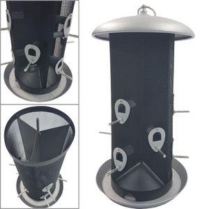 XXL Vogelfutter-Station 45 cm aus Metall großer Futterspender für bis zu 5 kg Futter Vogelhaus zum Hängen Vogelfutter-Spender mit 12 Futteröffnungen - perfekt für Wildvogelmischungen