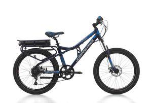 24 Zoll MTB E-bike Cinzia Blaster 7 Gänge Federgabel ALU SONDERRABATT! Dunkelblau-Grün 42 cm Rahmengröße