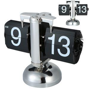 Tischuhr vintage Retro Flip Uhr Innenzahnrad Betätigte - Klassische mechanische Digitalanzeige - schwarz