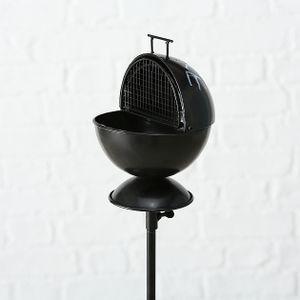 Aschenbecher mit Gartenstab H113cm Eisen lackiert schwarz