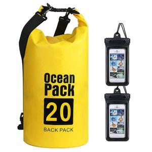 Wasserdichte Tasche für Boot, Kajak, Angeln, Rafting, Schwimmen, Strand verstellbarer Schultergurt (gelb)