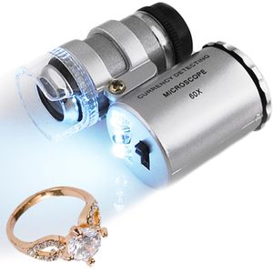 60x Lupe Mini Mikroskop + LED Taschenmikroskop Taschenlupe Juwelierlupe Schmuck #430