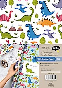 Geschenkpapier-Set für Kinder: Dinosaurier