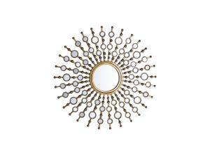 Wandspiegel Gold Metall Glas Rund 70 cm Sonnenmuster Retro