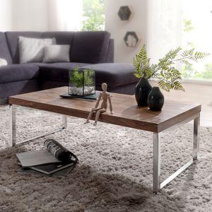WOHNLING Couchtisch GUNA Massiv-Holz Sheesham 120cm breit Wohnzimmer-Tisch Design dunkel-braun Landhaus-Stil Beistelltisch
