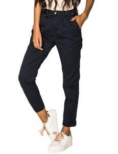 Damen Chino Stoffhose High Waist Carotte Stretch Cropped weites Bein, Farben:Marineblau, Größe:40