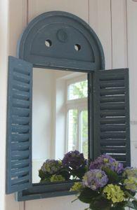 Landhaus Spiegel, Wandspiegel KRETA mit Fensterläden im Shabby Chic